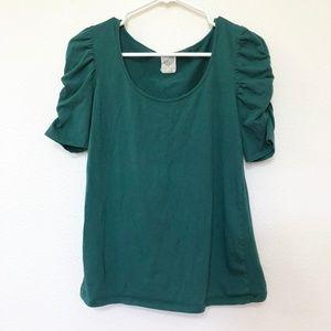 Zara hunter green ruched sleeve tee L